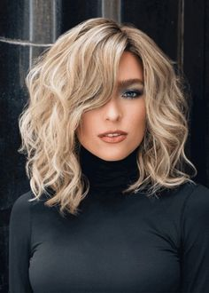 Womens Middle Length Side Part Tamed Open Waves Human Hair Lace Front Wigs Wavy Hairstyles Front hair Human Lace length Middle Open part Side Tamed waves Wigs Womens Medium Hair Cuts, Medium Hair Styles, Curly Hair Styles, Curly Medium Length Hair, Short Thin Hair, Shoulder Length Curly Hair, Short To Medium Hair, Middle Length Hair, Medium Blonde