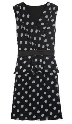 Black V Neck Sleeveless Polka Dot Bandeau Dress