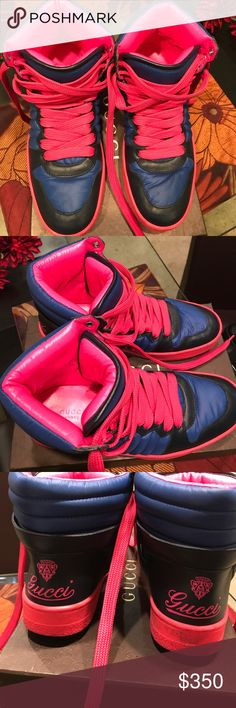Gucci Tennis Shoes - Worn once -Size 38 1/2 Gucci Tennis Shoes, super cute and comfy - multiple colors but the Pink really stands out - Size 38 1/2 Gucci Shoes Sneakers