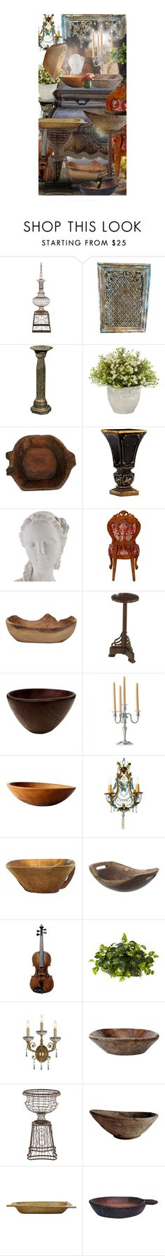 """Decorate with a Dough Bowl!"" by jcmp ❤ liked on Polyvore featuring interior, interiors, interior design, home, home decor, interior decorating, Aidan Gray, WALL, Nearly Natural and Sterling Industries"