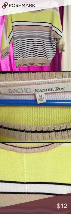 Rachel Roy striped summer sweater w/braided detail very pretty 3/4 sleeve sweater with yellow black white gray and tan colors. Great for all seasons! RACHEL Rachel Roy Sweaters Crew & Scoop Necks