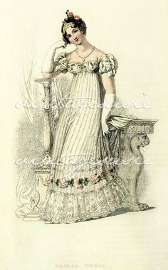 Although the English fashion journals are rather silent on wedding dresses during the Regency era, Jane Austen, Regency Dress, Regency Era, Regency Fashion, Rey George, 18th Century Dress, 19th Century, English Fashion, Wedding Prints