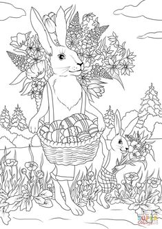 Rabbit Father With His Son Are Carrying Festive Baskets Full Of Easter Eggs And Flowers Coloring Page From Category