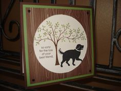 Dog Sympathy by megala3178 - Cards and Paper Crafts at Splitcoaststampers | Stamps: D is for dog, thoughts and prayers; Paper: chocolate chip, wild wasabi, woodland walk DSP, white; Ink: black, chocolate chip, wasabi; Accessories: black brads, circle cutters