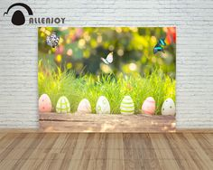 Allenjoy backdrops Easter eggs Real Butterfly Park bokeh wood lawn children Photophone background for photo shoots