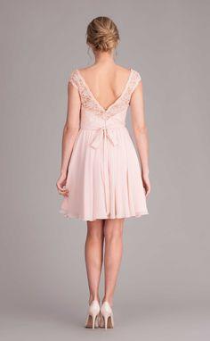 A short lace and chiffon bridesmaid dress with an illusion lace neckline. | Kennedy Blue Bridesmaid Dress Ashton