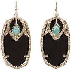 Black onyx and diamond drop earrings with Aquamarine stone.