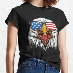eagles happy 4th Of July Fitted T-Shirt Happy 4 Of July, 4th Of July, Usa Shirt, Eagles, Classic T Shirts, Funny, Fitness, Mens Tops, Stuff To Buy