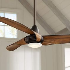 """56"""" Sleuth™ Oil-Rubbed Bronze LED Ceiling Fan Welcome the refreshing style and breeze of the Sleuth LED ceiling fan to your home. The handsome design comes in a rich oil-rubbed bronze finish, and is paired with three painted Kona finish molded ABS blades. An integrated LED downlight offers the added benefit of ambient lighting. Includes hand held remote control for ease of operation. ceiling fan ideas, bronze ceiling fan inspiration"""