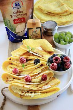 Naleśniki budyniowe | Tysia Gotuje blog kulinarny Dinners For Kids, Recipe Box, Sweet Recipes, Feta, Pancakes, Dessert Recipes, Tasty, Meals, Blog