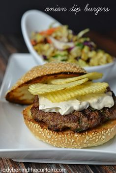 Next time you're craving French onion soup have this instead. These burgers are so juicy! I love how you can have your chips and dip right on your burger.