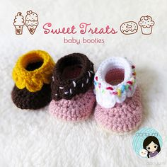 Sweet Treats for your baby's little feet! I mean, who doesn't like some sweet treats every now and then, right? This Sweet Treats Baby Booties crochet pattern is designed for newborns and up until 12-months old. They are easy and rather quick (2 to 3 hours) to make and can be crocheted with any worsted weight yarn. With all sorts of different color combinations, they can be made to look like doughnuts, cupcakes, melting ice cream or even birthday cake booties!