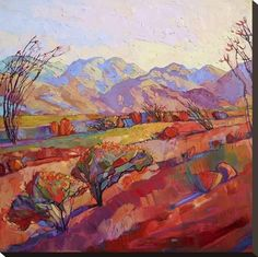 Stretched Canvas Print: Ocotillo Triptych (center) by Erin Hanson : 24x24in