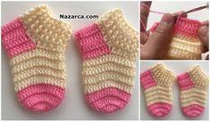 El Örgüsünde Pratİk Bebek Çorabi Tiğla T - Diy Crafts Crochet Baby Sweater Pattern, Crochet Baby Socks, Crochet Slipper Pattern, Baby Sweater Patterns, Crochet Slippers, Baby Knitting Patterns, Crochet Patterns, Crochet Waffle Stitch, Baby Slippers