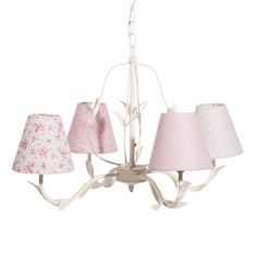 White 5 Light Wistful Chandelier with Pink Pearl Dot Chandelier Shades