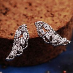 Angel's Wings Full Rhinestone Earrings - LilyFair Jewelry