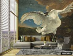 De bedreigde zwaan - Mural Large (Jan Asselijn, ca.1650) Wat een prachtige eyecatcher! Leverbaar op 4 materiaalsoorten en uiteraard als maatwerk! #behang #oudemeester #megawall #bedreigdezwaan #wallpaper #wandbekleding #hollandsemeesters