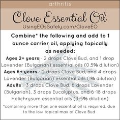 Remedies For Varicose Veins Clove_Recipe_Circ_Arthritis Essential Oils For Inflammation, Copaiba Essential Oil, Cypress Essential Oil, Essential Oils For Massage, Clove Essential Oil, Are Essential Oils Safe, Sweet Orange Essential Oil, Natural Essential Oils, Essential Oil Blends
