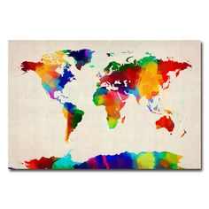 Found it at Wayfair - 'Sponge Painting World Map' by Michael Tompsett Graphic Art on Canvas http://www.wayfair.com/daily-sales/p/Bedroom-Furniture-for-Kids-%26-Teens-%27Sponge-Painting-World-Map%27-by-Michael-Tompsett-Graphic-Art-on-Canvas~TMAR1177~E21208.html?refid=SBP