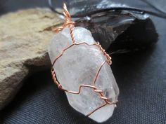 Double Isis Quartz Crystal Pendant Copper Wire by DarkMoonBazaar