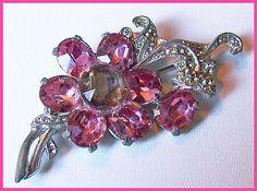 Vintage Pink Rhinestone Paste Set Silver Pot Metal Flower Brooch or Pin