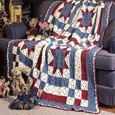 """Liberty Quilt Crochet ePattern - What better way to pay tribute to your American heritage than with a classic quilt-block afghan? Crocheted in rustic red, white, and blue, this patriotic wrap makes it easy to display your national pride all year-round. Our design was crocheted using worsted weight yarn and a size I (5.50 mm) hook. Number of Designs: 1 Approximate Design Size: 65"""" square"""