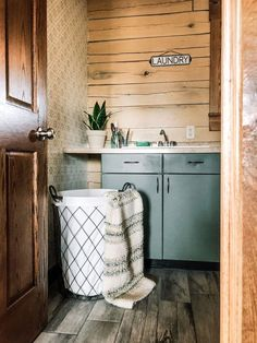 Laundry Room Refresh part one. Painting metal cabinets and stenciling walls and backsplash with a Stencil Revolution stencil. Laundry Room Inspiration, Home Decor Inspiration, Decor Ideas, Painting Metal Cabinets, Mud Kitchen, Kitchen Ideas, Kitchen Cabinets, Foam Paint, Small Laundry