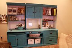 22 Ridiculously Clever Recycled Entertainment Center Projects - 22 Great Ideas for Recycling an Entertainment Center Small Entertainment Center, Entertainment Center Makeover, Entertainment Room, Repurposed Furniture, Diy Furniture, Refurbished Furniture, Painted Furniture, Furniture Makeover, Restoring Furniture