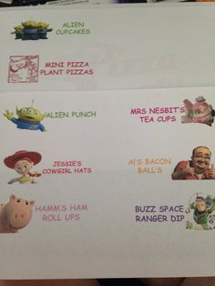 Toy story food labels in the making.