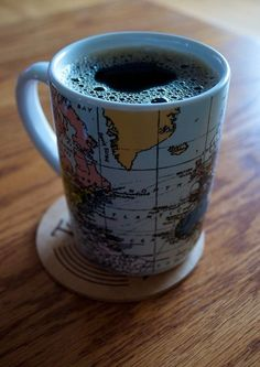 World Coffee Mug....perfect for exploring the world one cup at a time!  #worldcafe #coppermoon  A Wanna be World Traveler....like me, must have the proper mug! This one fits in that catagory Fabulously!! <3