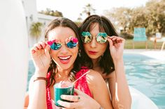 190b12843772 Obsessed with these Bana Sunglasses for a fun bachelorette party! Everistta  Bridal Earrings Featured on
