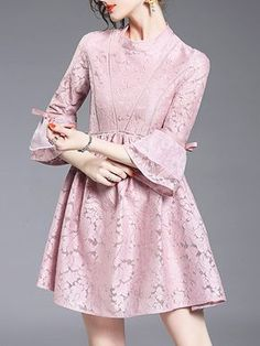 SheIn offers Pink Contrast Organza Lace Dress & more to fit your fashionable needs. Lace Dresses, Simple Dresses, Elegant Dresses, Party Dresses, Short Dresses, Dress Brokat, Kebaya Dress, Fashion Dresses, Fashion Clothes