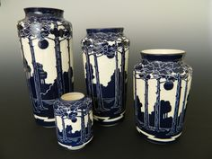 Pine tree vases by Ken Tracy
