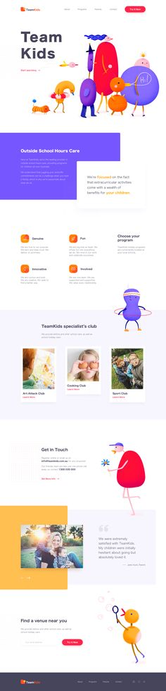 Landing Page - TeamKids Design Your Own Website, News Website Design, Clean Web Design, Web Ui Design, Flat Design, Landing Page Inspiration, Website Design Inspiration, Design Ideas, Web Layout
