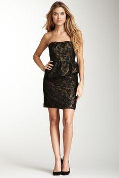 Metallic Lace Strapless Peplum Dress