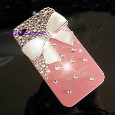 white bow Bling iPhone 5 Cases stud swarovski crystals iPhone Case cute iPhone 4 Case Clean Crystals Sparkly iPhone 4S Case galaxy s3 case via Etsy