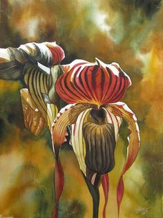 ARTFINDER: Golden ladyslipper orchid by Alfred Ng - watercolor on Arches watercolor paper Unusual Flowers, Amazing Flowers, Watercolor Flowers, Watercolor Paintings, Watercolors, Watercolor Paper, Orchids Painting, Green Orchid, Orchid Flowers