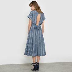 Image Striped Linen and Viscose Midi Dress SOFT GREY