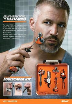 Landscaping to manscaping with the Stihl Manscaper Kit. Shut up and take my money.if only it were real! Things To Buy, Good Things, Stuff To Buy, Manly Things, Take My Money, Men's Grooming, Shaving, Inventions, Funny Pictures