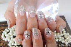 Elegant Nail with with Rhinestone Trim-nail art, nail makeup, diy nail