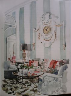 Mita Corsini Bland watercolor of the Presidential Suite at the Greenbriar created especially for the Duke and Duchess of Windsor and decorated by Dorothy Draper