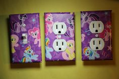 My Little Pony Light Switch & Socket Cover set  girls childs kids room home decor Twilight Sparkle Fluttershy Rainbow Dash bronie brony by ComicRecycled on Etsy