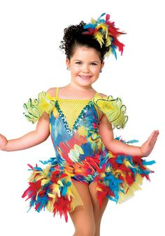 13079 - This Little Bird - Let the feathers fly in this multicolor feather print leotard with sequin inset and attached boa trim topskirt over organza backskirt.