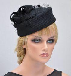 Black Pillbox Hat, Cocktail Hat, Funeral Hat, Ladies Black Felt Hat, Formal Hat, Church Hat, Dressy Hat