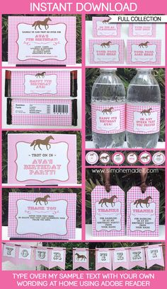 Horse Party Invitations & Decorations  full por SIMONEmadeit