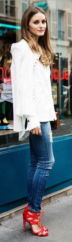 Fall #streetstyle | Olivia Palermo in a white Nina Ricci rufle jacket, Susan Woo shirt, distressed skinny jeans and Aquazzura heeled sandals