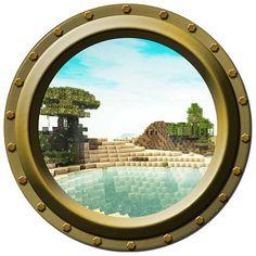 "Minecraft Lakeside Porthole Vinyl Wall Decal - 13.75"" wide"