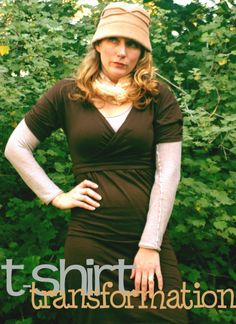 tshirt dress using 2 mens tshirts... perfect for the little black dress challenge!