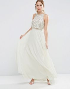 ASOS+All+Over+Embellished+Crop+Top+Maxi+Dress