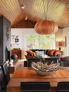 Contemporary living area, driftwood, pendant